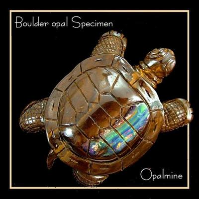Boulder Opal Turtle carving from Quilpie, Australia